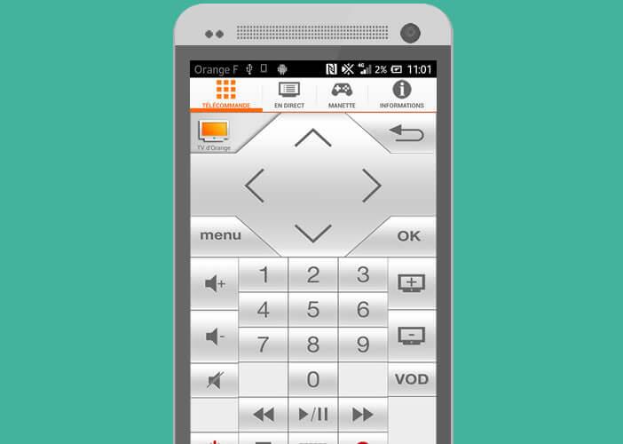 Télécommande virtuelle d'Orange pour smartphone