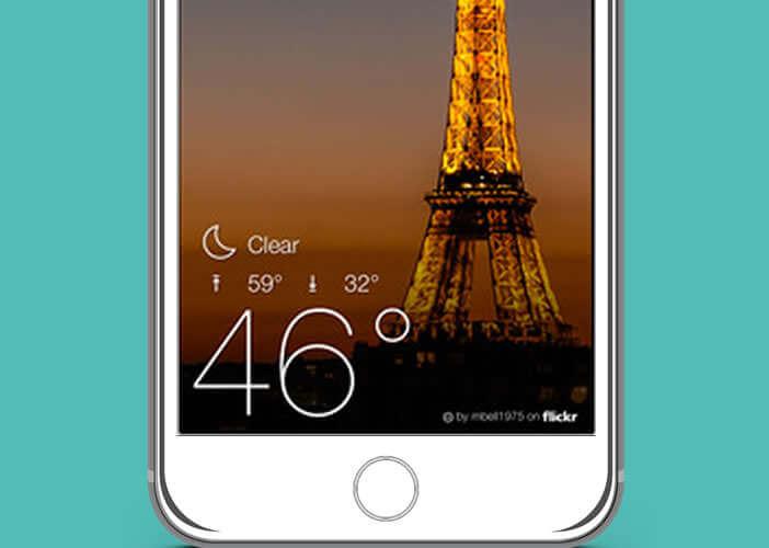 Widget de Yahoo Météo pour consulter les prévisions depuis son iPhone
