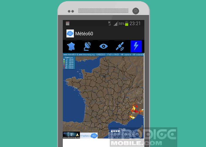 Localisation sur une carte en temps réel des impacts de foudre