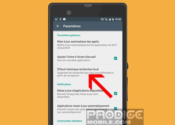 Supprimer l'historique de recherche local sur Android