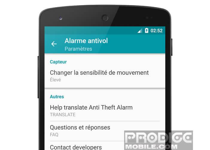Modifier la sensibilité du détecteur de mouvement de l'alarme
