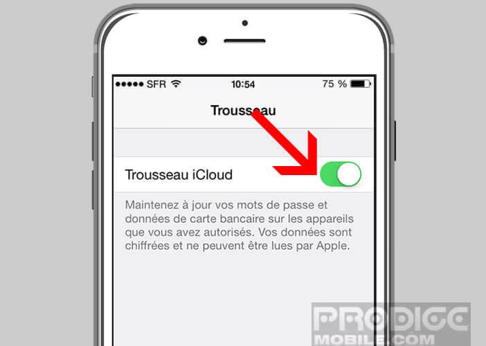 Trousseau iCloud gère vos mots de passe depuis Safari