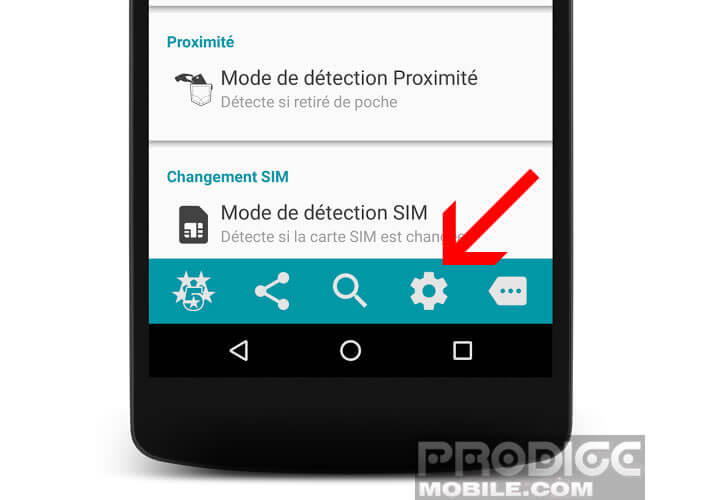 Modifier les options de l'application Alarme Antivol