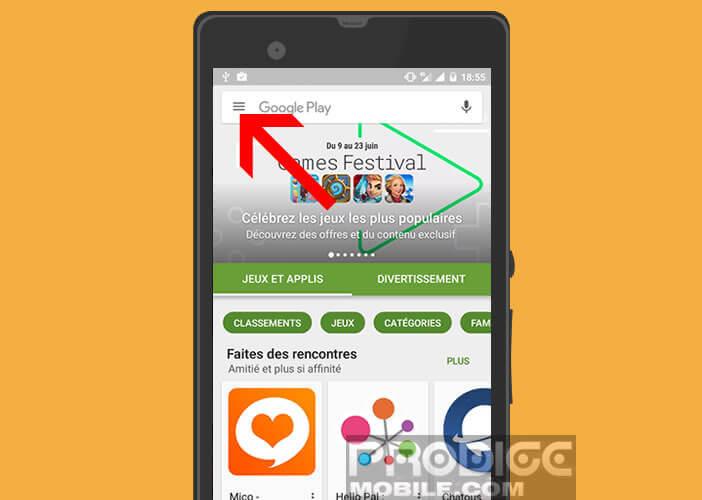 Modifier les paramètres du Play Store en cliquant sur le bouton menu