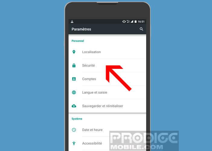 Modifier les paramètres de sécurité de votre mobile