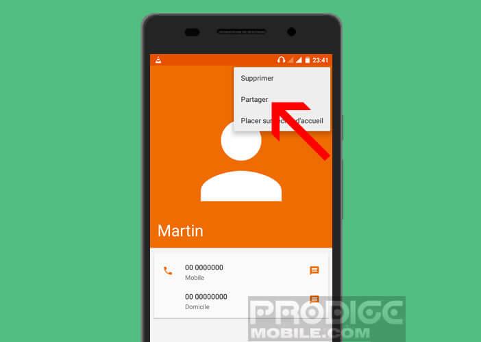Partager une fiche contact via SMS depuis un mobile