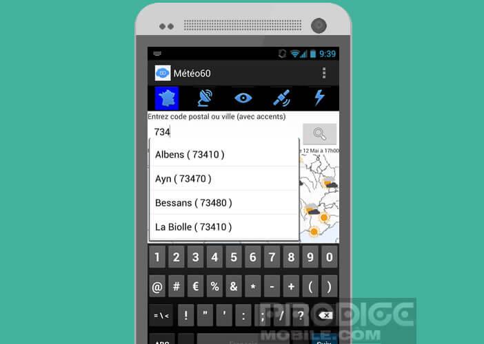 Prévisions météo dans votre ville via le système de géolocalisation d'Android