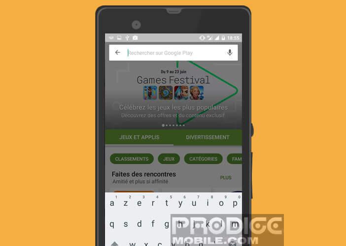 Menu de recherche auto-complétion du Play Store