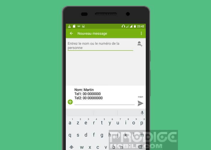 Le texto avec les informations de la fiche contact