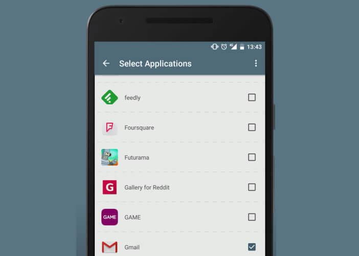 Choisir dans Boomerang les applis dont vous souhaitez sauvegarder les notifications