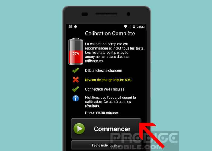 Lancer le calibrage de votre mobile Android