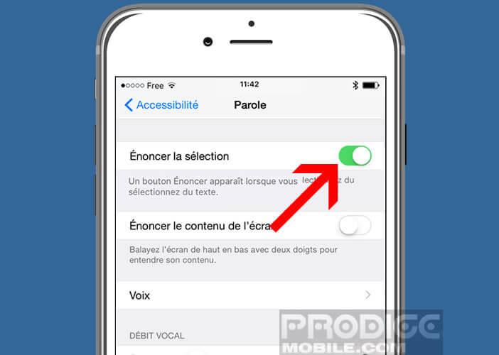 Activer l'option énoncer la sélection sur le smartphone d'Apple