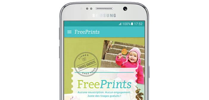 Application FreePrints pour commander des tirages photo gratuits