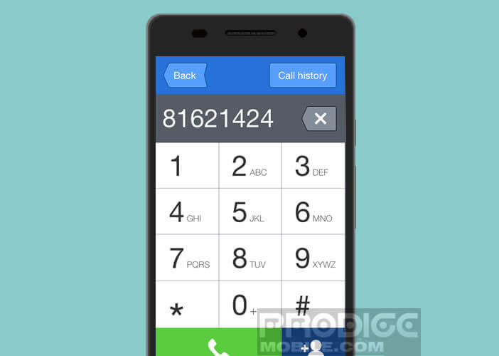 Interface simplifiée du dialer Android