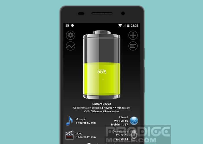 Le niveau de charge d'un mobile Android