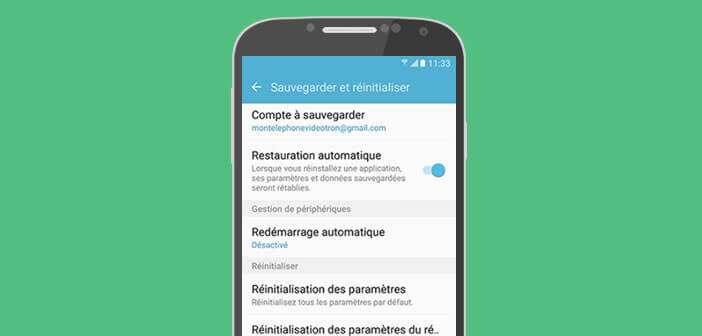 Lancer une réinitialisation sur Samsung Galaxy Android