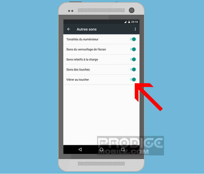 Retour vibrant sur les touches menu du smartphone