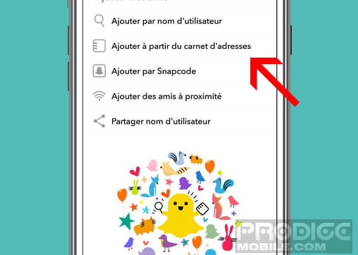 Retrouver vos amis sur Snapchat grâce à votre carnet d'adresses