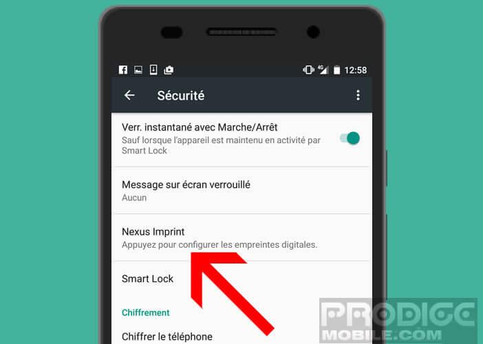 Lancer la configuration du lecteur biométrique d'un smartphone