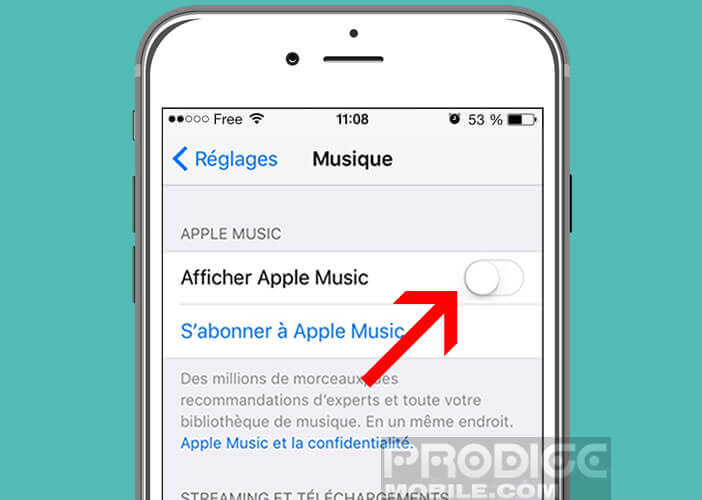 Désactiver l'option d'affichage d'Apple Music