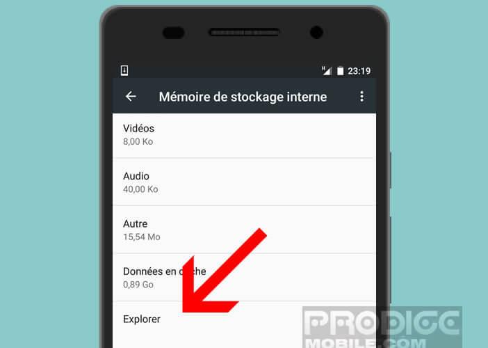 Cliquez sur Explorer pour lancer le gestionnaire de fichiers sur un mobile Android