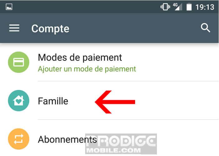 Activer le partage familial sur le Play Store