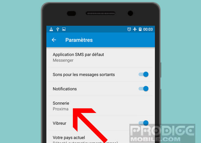 Changer la sonnerie des notifications SMS