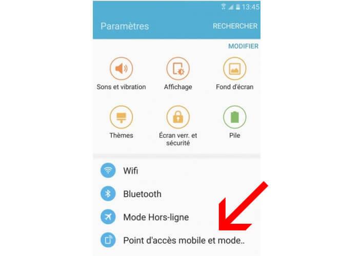 Accéder aux points d'accès mobiles du Galaxy S7