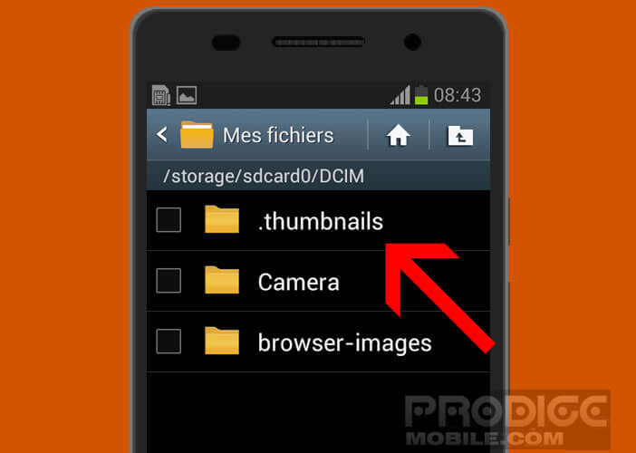 Répertoire thumbnails sur un smartphone Samsung