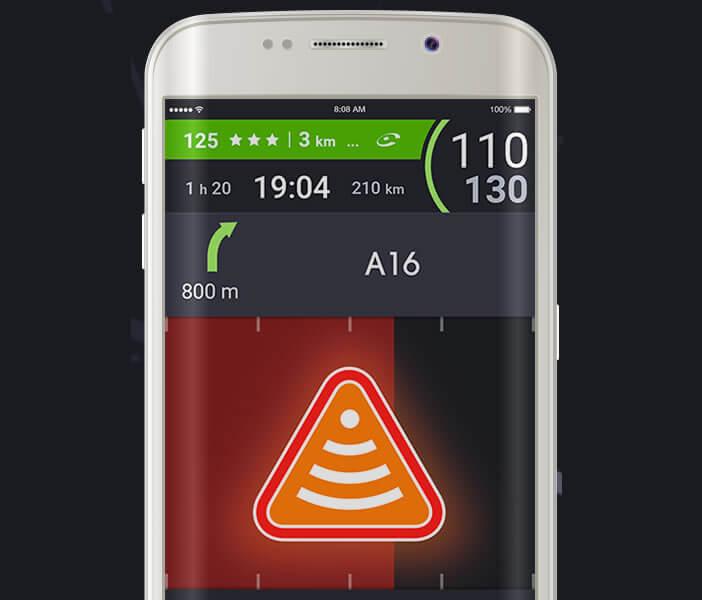 iCoyote signale les dangers sur la route par de grosses icônes