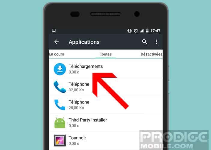 Activer l'appli téléchargements pour résoudre les problèmes de google.process.gapps