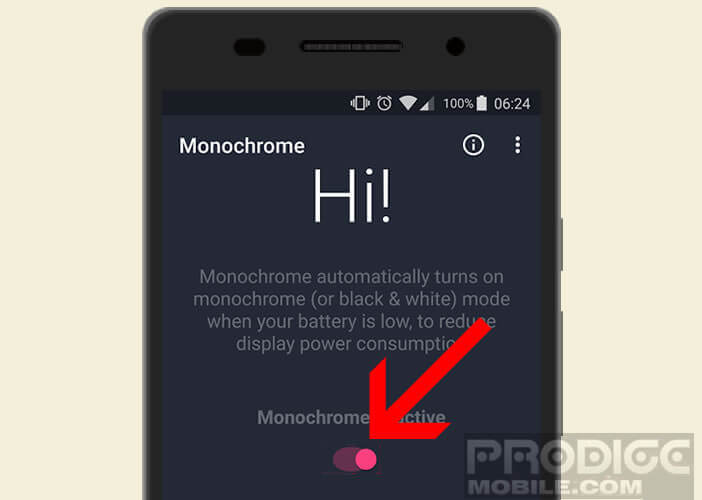 Activer le mode nuance de gris sur l'application monochrome