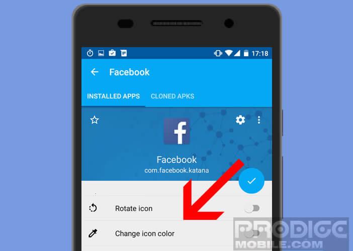 Changer la couleur de l'icône de l'application dupliquée