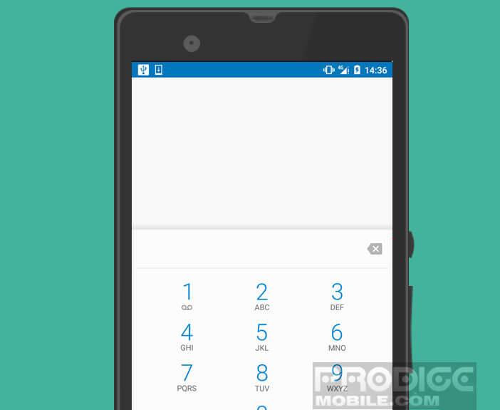 Ouvrir l'option clavier téléphonique de votre mobile