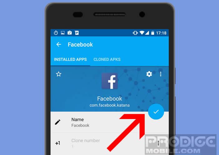 Faire une copie de l'application Facebook afin d'utiliser deux profils sur un mobile