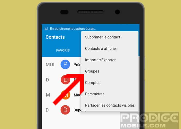 Lancer la création d'une liste de contacts sur son mobile