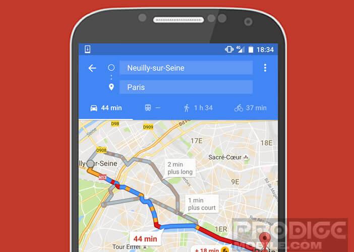 Créer votre itinéraire dans l'application de cartographie de Google