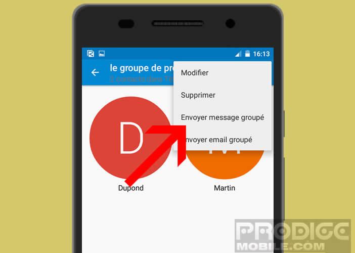 Envoyer un SMS groupé à une liste de contacts