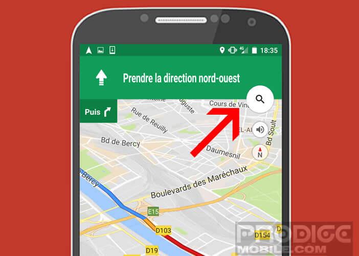 Cliquez sur l'icône en forme de loupe dans Google Maps