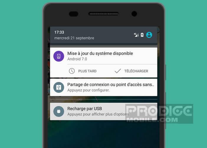 mise à jour du système Android disponible