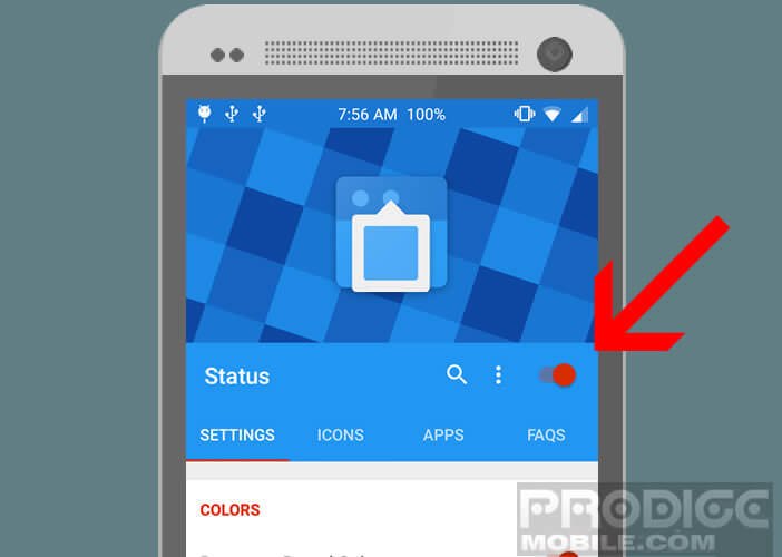 Activer l'application gratuite Status
