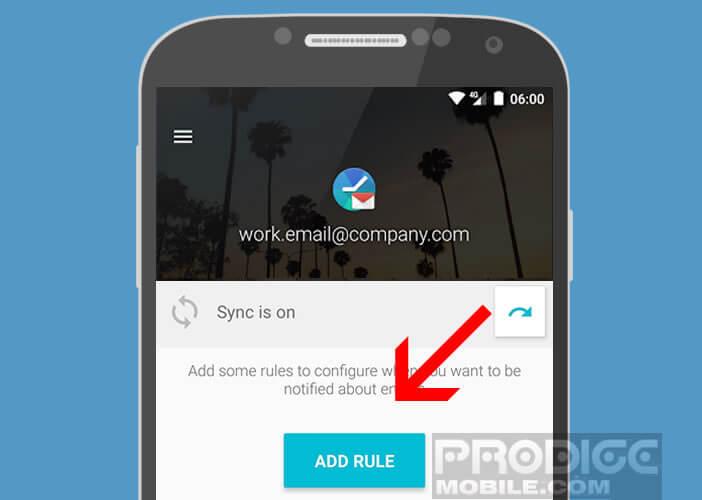 Ajouter un compte de messagerie professionnel à l'application Quiet for Gmail
