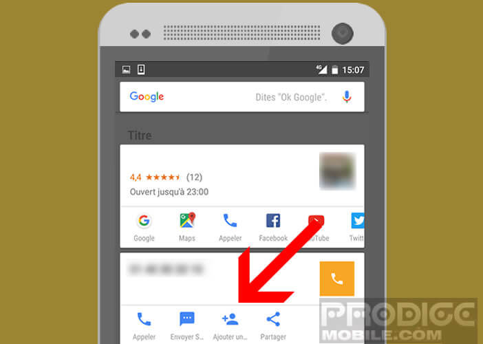 Ajouter un numéro dans le répertoire de son mobile grâce à Now On Tap