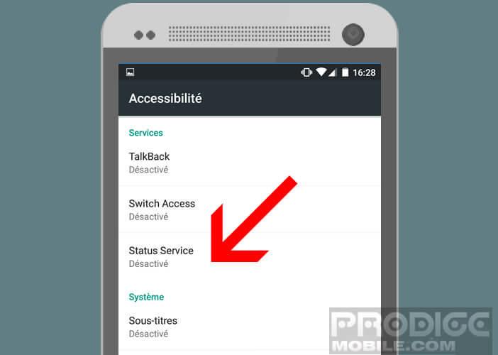 Autoriser Status Service dans les options d'accessibilité d'Android