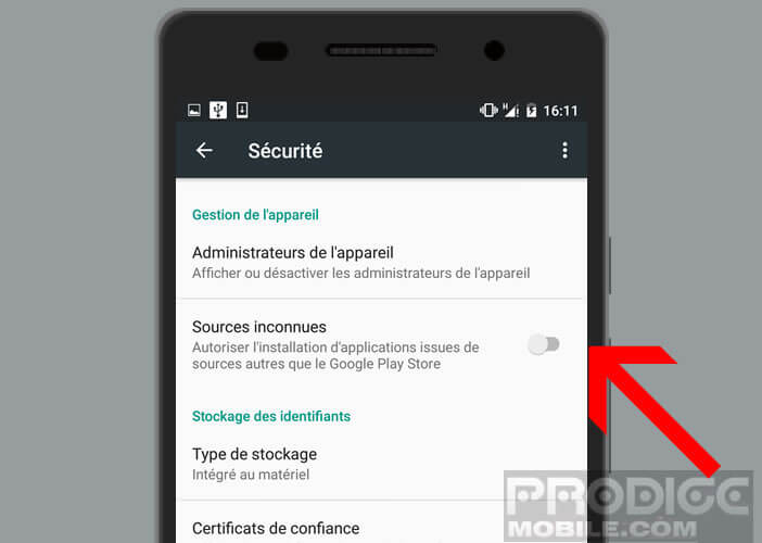 Bloquer l'installation d'applications provenant des sources inconnues