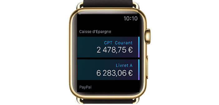 Afficher les données bancaires sur l'Apple Watch