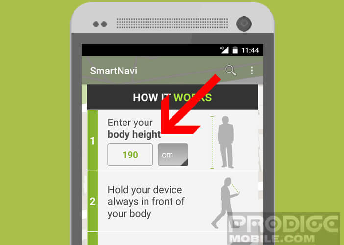 Entrer votre taille pour aider Smart Navi à calculer la longueur de vos pas