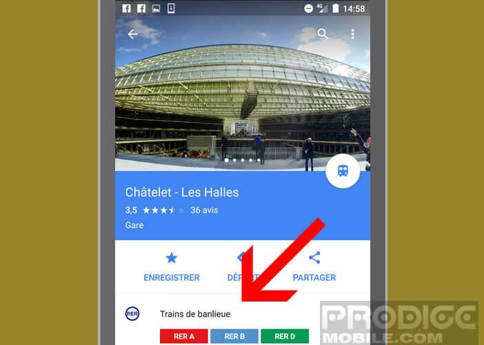Ouvrir la fiche info de la station de métro, de bus ou de RER