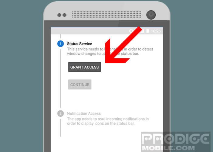 Bouton Grant Access dans l'application Status