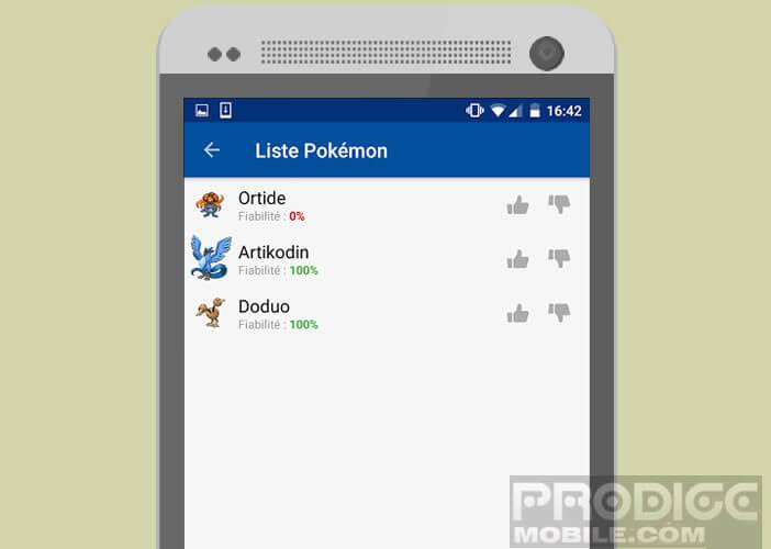 Afficher la liste des Pokémons trouvés sur la carte avec leur taux de fiabilité